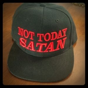 Not today satan black adults snapback hat